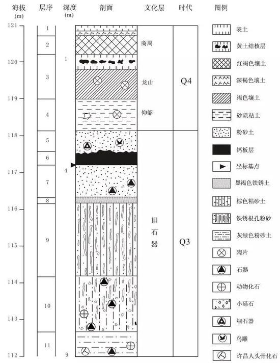 灵井遗址地层分布示意图,受访者供图