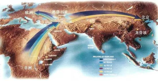 """""""非洲起源说""""早期现代人走出非洲示意图 李占扬供图"""