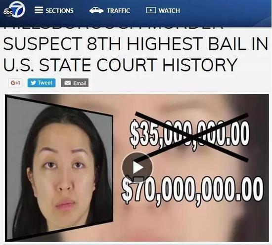 李某保釋金額 圖片來源:美國廣播公司