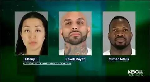 三名嫌犯從左至右:李某、博雅特、阿德拉 圖片來源:聖馬特奧郡警長辦公室