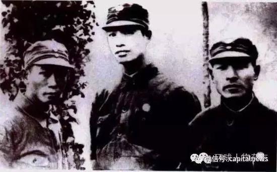 张震(中),彭雪枫(右)