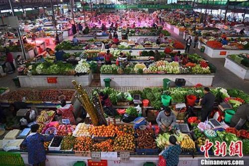 资料图:市民在广西南宁市华园菜市选购新鲜蔬菜。 中新社记者 胡雁 摄