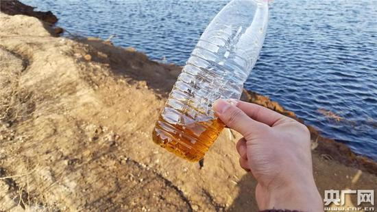 记者用矿泉水瓶盛出一些坑内的水体,呈半透明的棕色,气味更加明显。((央广记者 白杰戈 王逸群 摄))