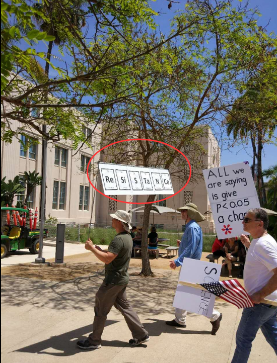 """抗议者用化学元素符号组成""""Resistance(抵抗)"""""""