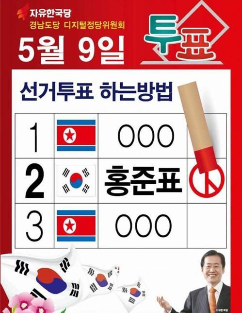 印有朝鲜国旗的韩国总统大选海报