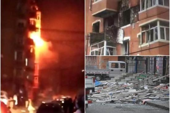 图为天然气爆炸前后对比图。