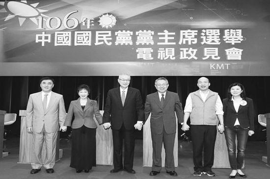 从左到右依次为:郝龙斌、洪秀柱、吴敦义、詹启贤、 韩国瑜、潘维刚。