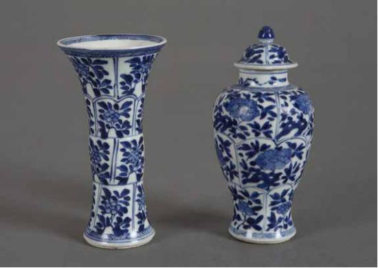 青花花卉纹觚、盖罐一组(清· 景德镇) 37cm×7.5cm×39cm 海捞瓷。中国的外销瓷中有很大的一个比例没有到达彼岸,就沉没在波涛汹涌的海里。表面都有被海水侵蚀过的痕迹。