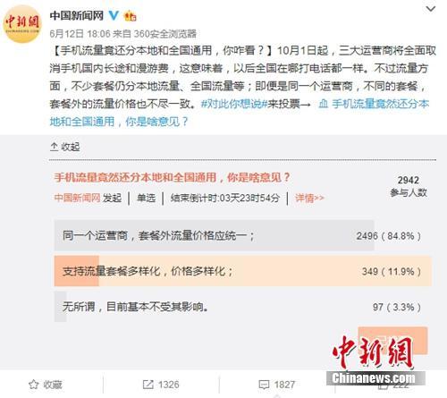 """近日,中国新闻网微博发起关于""""手机流量竟还分本地流量和全国通用,你咋看?""""的小调查。"""