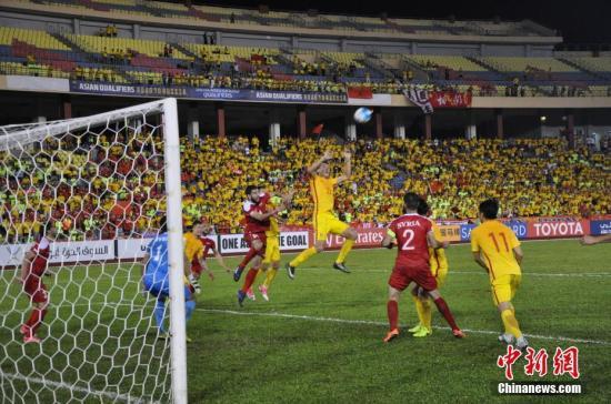 6月13日晚,世界杯预选赛亚洲区12强赛,中国男足在马来西亚马六甲客场挑战叙利亚。中新社记者 蔡燕江 摄