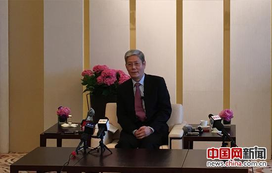 华润集团董事长傅育宁接受中央媒体集体采访。中国网 戚易斌 摄
