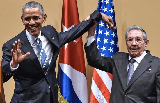 2016年3月21日,古巴領導人勞爾·卡斯特羅與訪問古巴的時任美國總統奧巴馬(圖片來源:視覺中國)