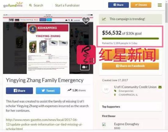 尋找章瑩穎籌款活動的金額已經達到56532美元 網絡截圖
