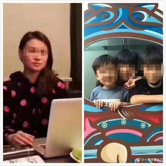 朱小贞(左)和她的三个孩子(右)