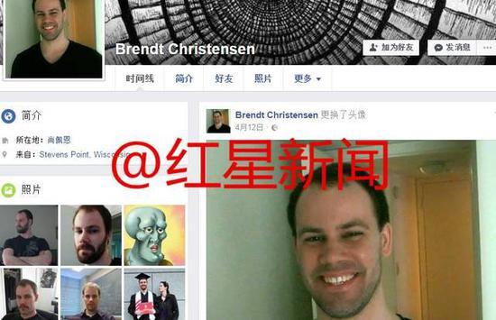 ▲嫌犯渴攀里斯滕森的Facebook交际账号页面截图