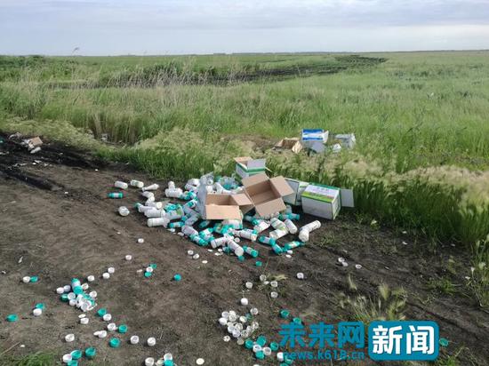 宝清县东升湿地出现大量废弃农药瓶。(图片由受访者提供)