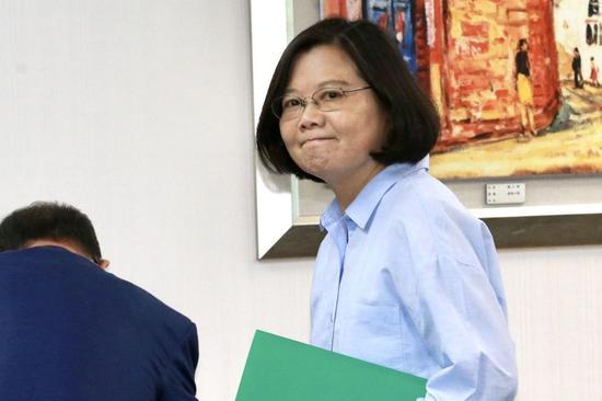 蔡英文出席下午的民进党中常会。(图片来源:台湾联合新闻网)