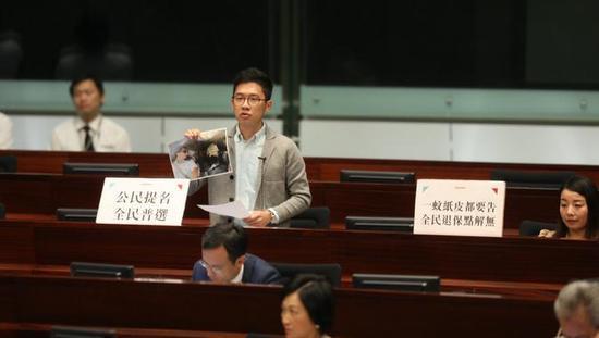 """""""港独""""分子、香港""""众志""""罗冠聪谈到警权问题。(图片来源:香港01)"""