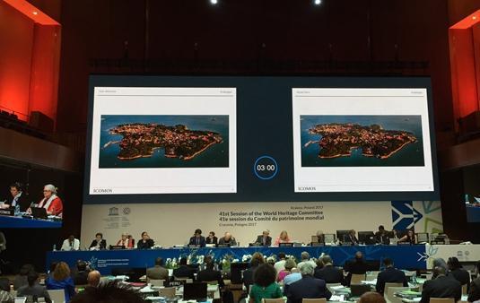 7月8日,鼓浪屿申遗项目在世界大会审议现场