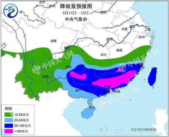 14-15日,江南华南将遭遇强降雨。