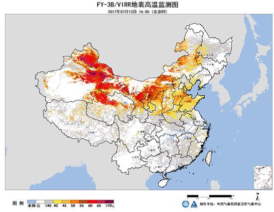图1、FY-3B/VIRR气象卫星地表温度图 2017年7月13日。 本文图均为 中国气象局 图
