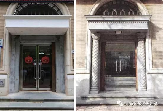 主入口正门拆除前后对比图。