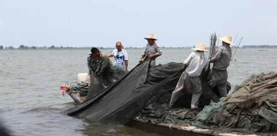 渔民正在吃力的从水中拖出围网。