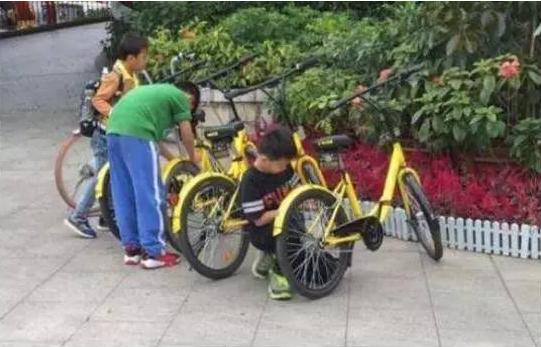 孩子们在尝试解锁共享单车