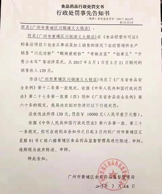 广州火锅店违法卖凉菜:被处没收收入罚1万|凉菜