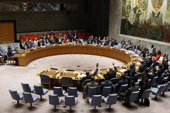8月5日,在位于纽约的结合国总部,各方代表就结合国安理睬针对朝鲜洲际弹道导弹试射实行新制裁的决定表决。新华社 图