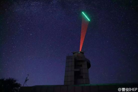 资料图片:墨子号量子卫星和地面兴隆站进行的通信试验,红光为地面发射,绿光为墨子号发射 。(来自中国科学院高能物理研究所研究员曹俊微博)