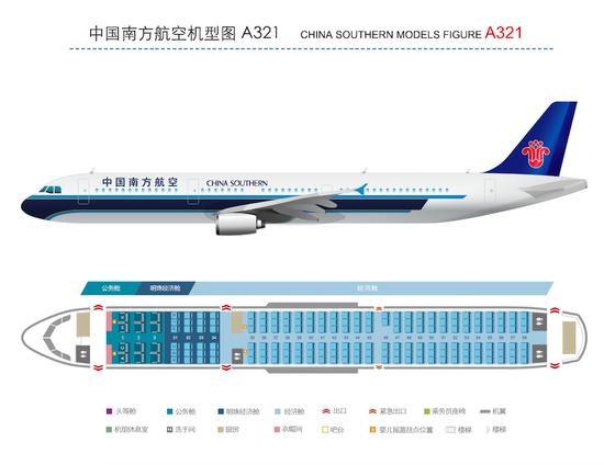 图为南方航空公司官网显示的空客A321机型图