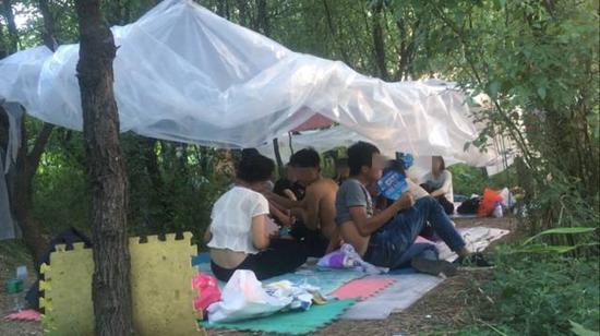 """静海曹官庄村北枣树林深处,十多名传销人员搭着简易遮篷,在野外""""躲负面"""",即逃避打击。新京报记者 赵吉翔 摄"""