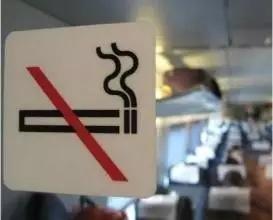 动车车厢内严禁吸烟标志。