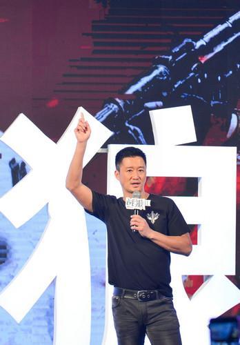 材料图片:7月10日,导演兼主演吴京表态《战狼2》消息宣布会。新华社记者 覃海石 摄
