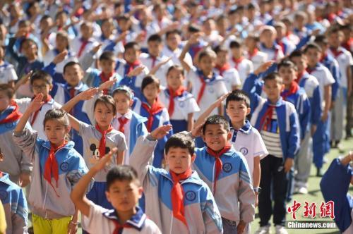 资料图:山西一小学举行开学仪式。武俊杰 摄