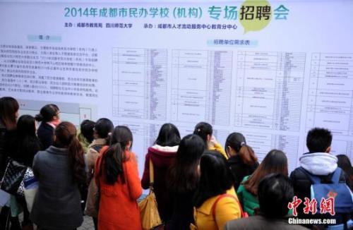 资料图:民办学校招聘会。中新社发 刘忠俊 摄