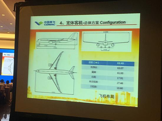 CR929飞机布局图。澎湃新闻记者 姚晓岚 摄