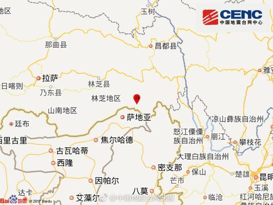 西藏林芝市察隅县发生3.7级地震 震源深度7千米