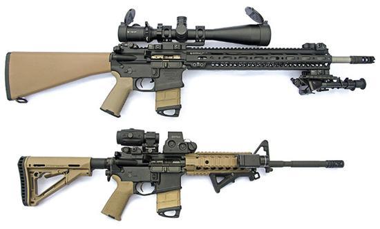 两支安装了多种附件的AR-15系列枪械。