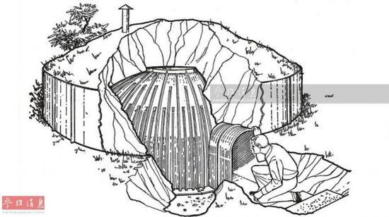 一款外形酷似爱斯基摩冰屋的钢制掩体设计图。