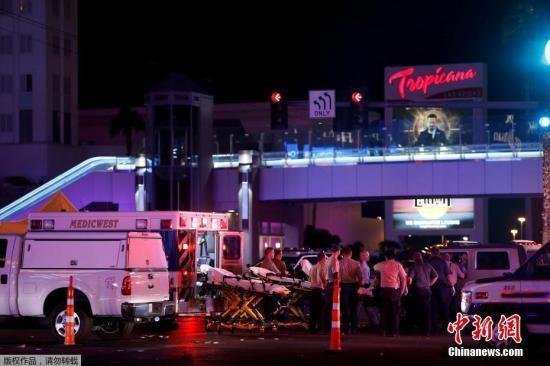 资料图:枪击事件发生在拉斯维加斯曼德列湾赌场酒店附近。