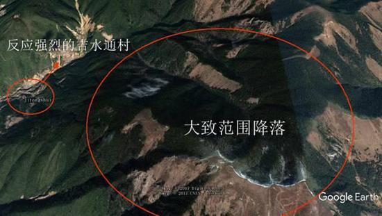 刘文杰划定的陨落范围