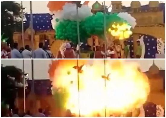 印度一学院活动气球爆炸 瞬间形成巨大火球