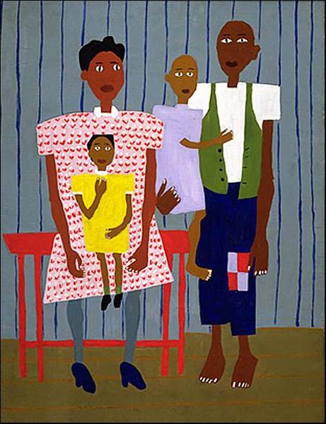 奥巴马选择的艺术作品,William Johnson 《Folk Family, 1944》