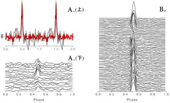 图注:新脉冲星的归一化平均脉冲轮廓和单脉冲。A(上)为FP1平均脉冲轮廓,FAST通过约52.4秒漂移扫描(红色)产生信噪比为Parkes望远镜L波段积分2100秒结果(灰色)信噪比的3倍,表现出FAST高灵敏度优势。A(下)为FP1单脉冲轮廓。B为FAST采用跟踪观测5分钟,获得的另一颗新脉冲星FP2的单脉冲轮廓。