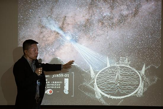 FAST工程副总工程师李菂在介绍新脉冲星发现过程。 新华社 图
