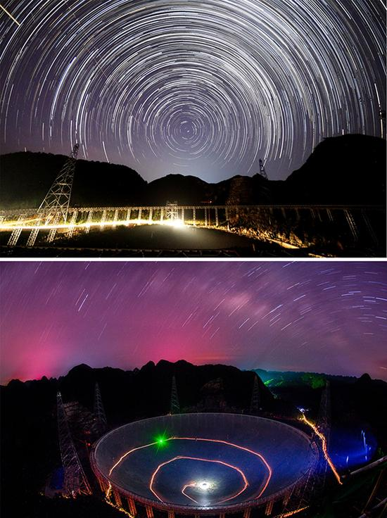 上图:2014年9月1日拍摄的FAST夜景。 国家天文台FAST项目团队 供图;下图:2016年6月27日拍摄的FAST夜景。 新华社 图