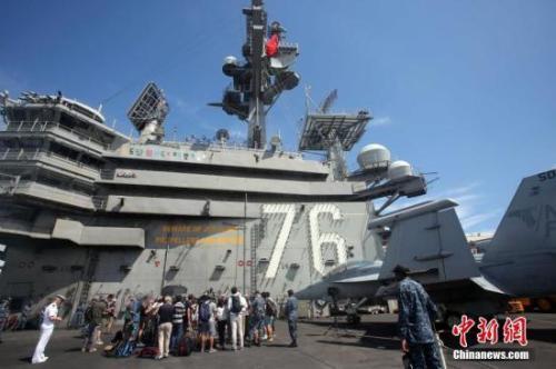 """资料图:美国航空母舰""""里根号""""。"""