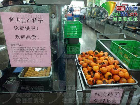 图为该校自产柿子,免费供应!陕西师范大学后勤集团供图